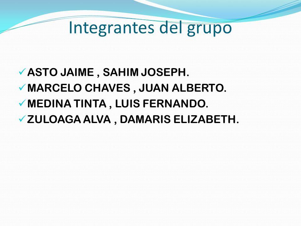 Integrantes del grupo ASTO JAIME , SAHIM JOSEPH.