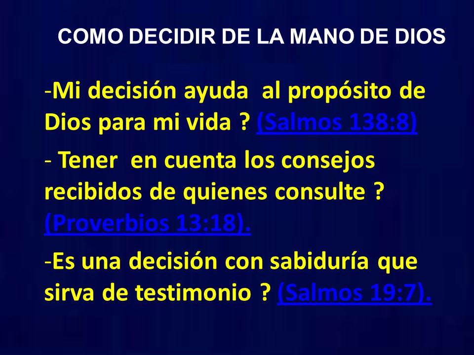 COMO DECIDIR DE LA MANO DE DIOS