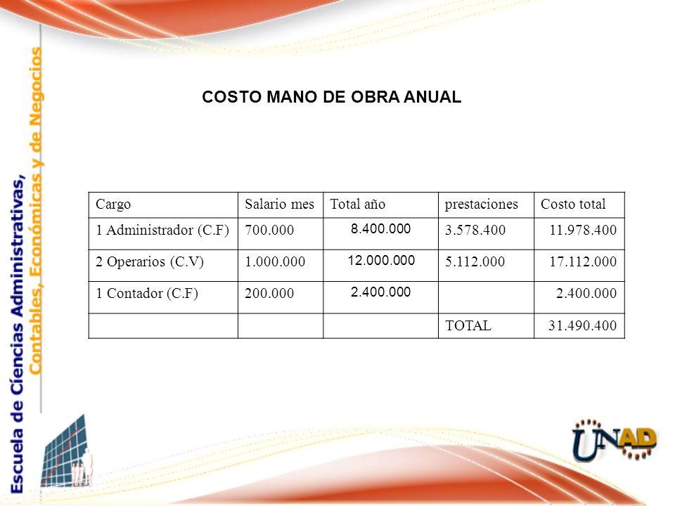 COSTO MANO DE OBRA ANUAL