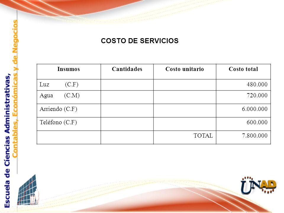 COSTO DE SERVICIOS Insumos Cantidades Costo unitario Costo total