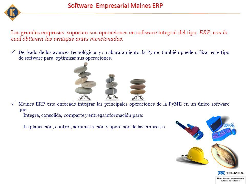 Las grandes empresas soportan sus operaciones en software integral del tipo ERP, con lo cual obtienen las ventajas antes mencionadas.