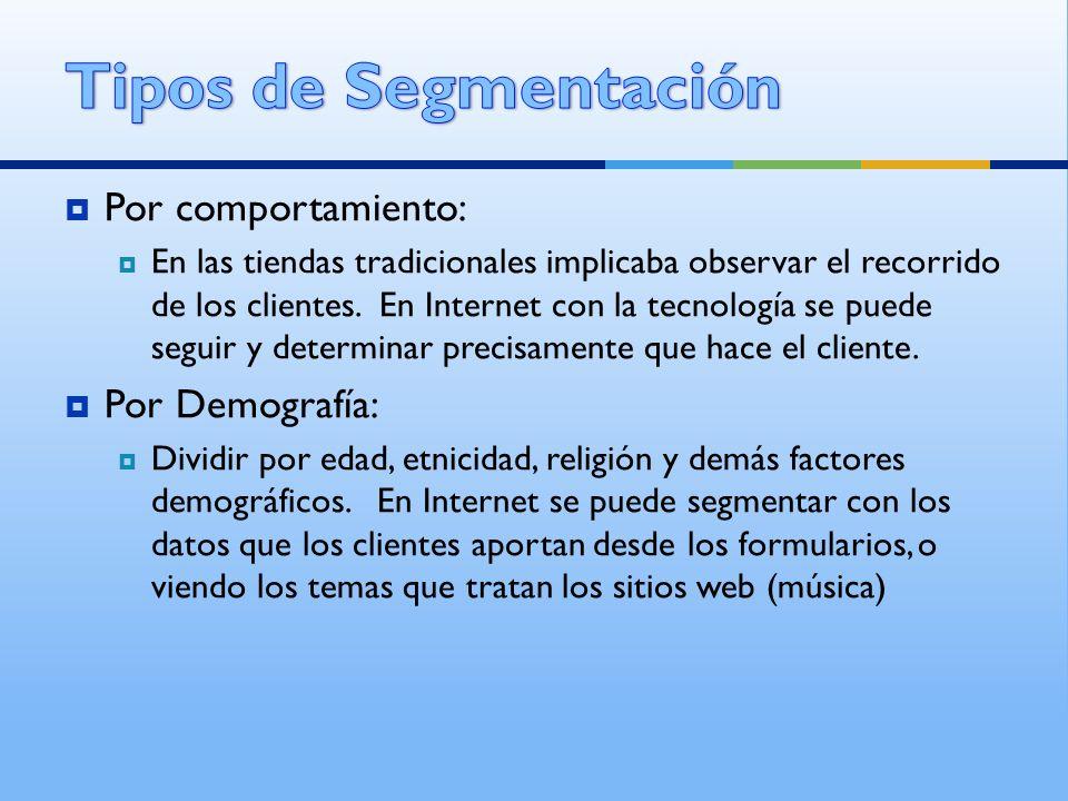 Tipos de Segmentación Por comportamiento: Por Demografía: