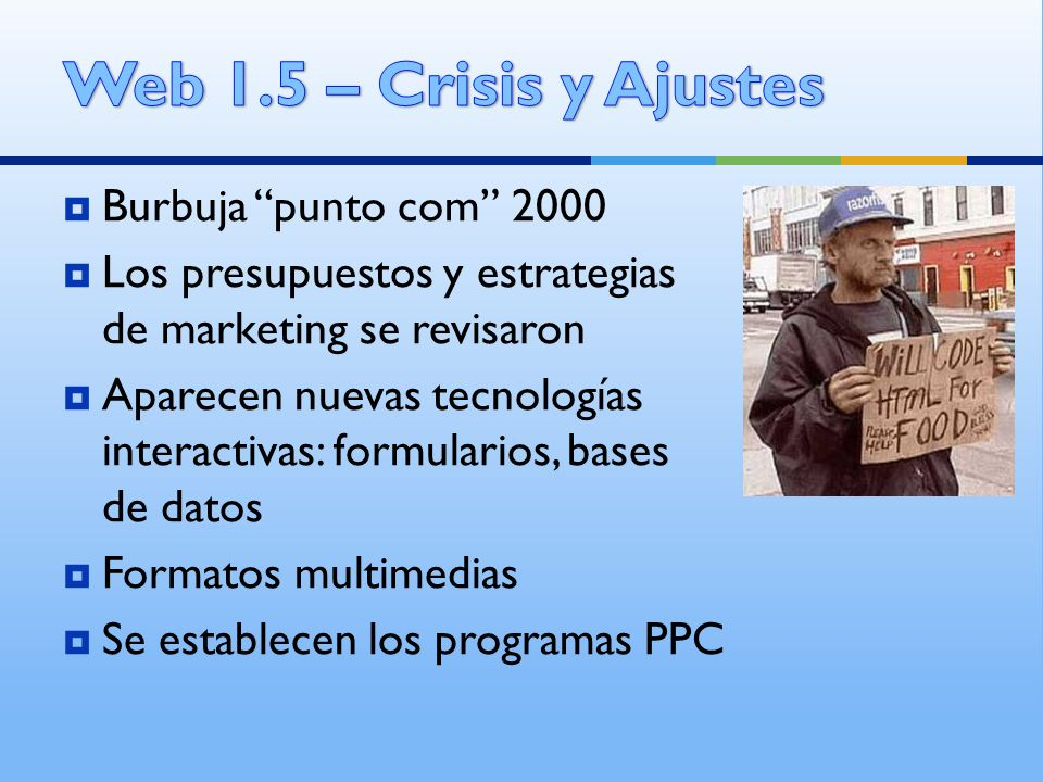 Web 1.5 – Crisis y Ajustes Burbuja punto com 2000