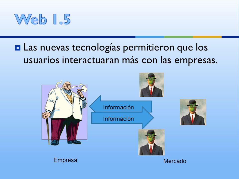 Web 1.5 Las nuevas tecnologías permitieron que los usuarios interactuaran más con las empresas. Información.