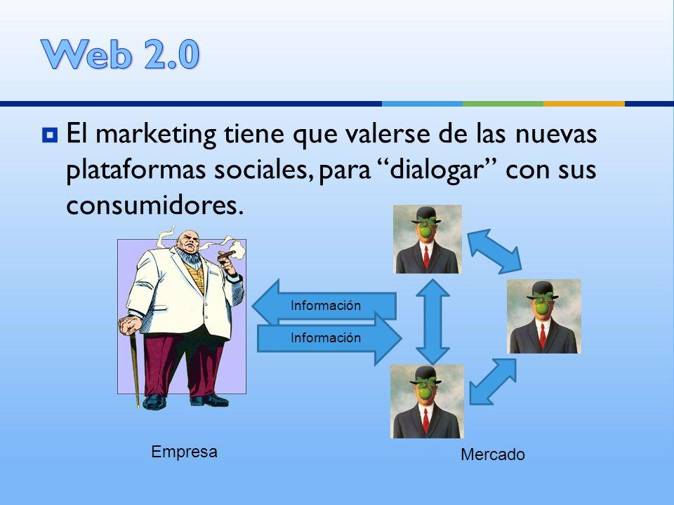 Web 2.0 El marketing tiene que valerse de las nuevas plataformas sociales, para dialogar con sus consumidores.