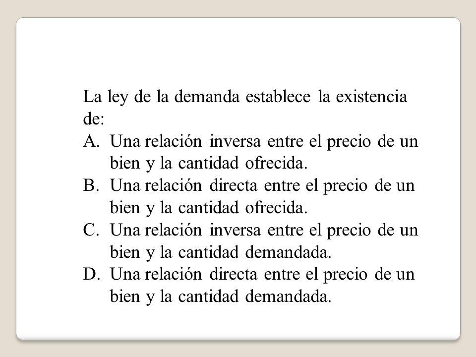 La ley de la demanda establece la existencia de: