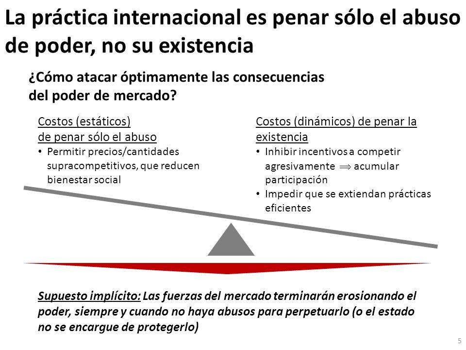 La práctica internacional es penar sólo el abuso de poder, no su existencia