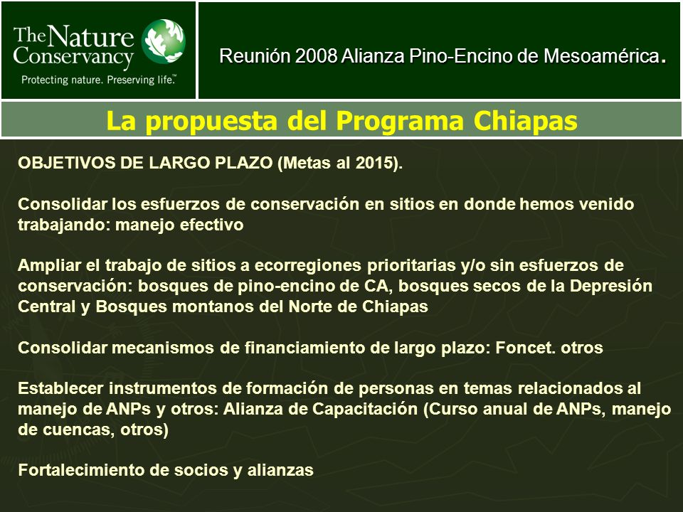 La propuesta del Programa Chiapas
