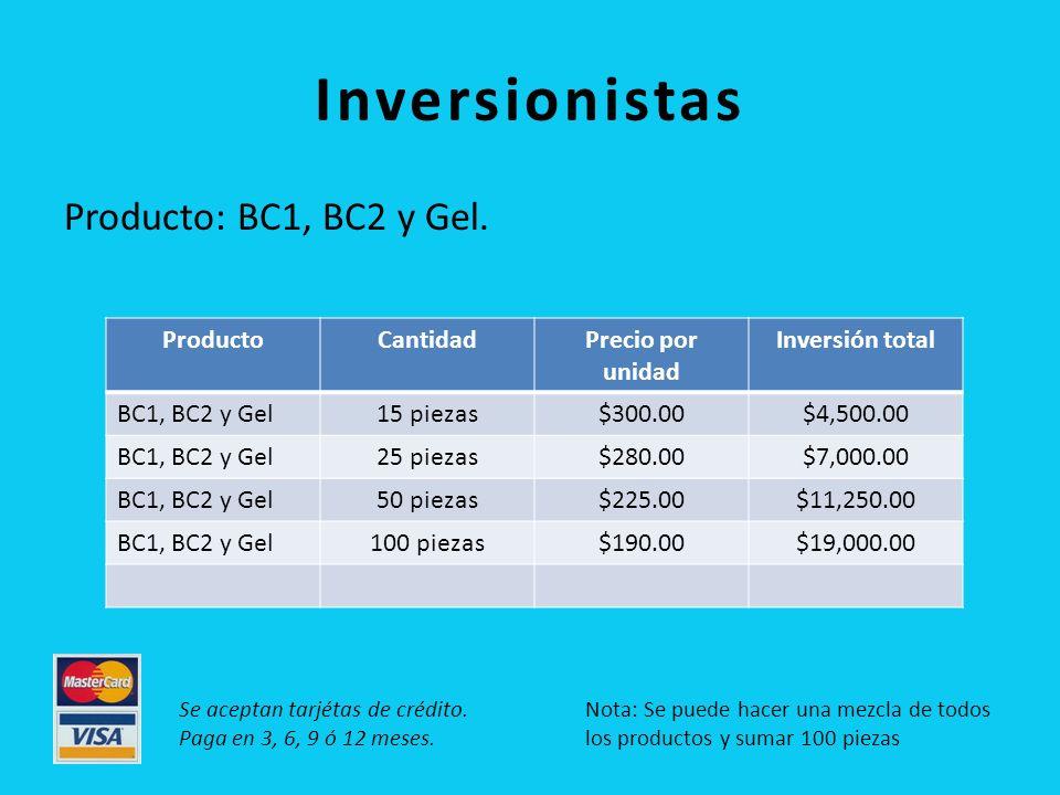 Inversionistas Producto: BC1, BC2 y Gel. Producto Cantidad