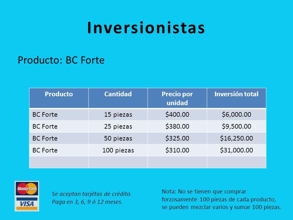 Inversionistas Producto: BC Forte Producto Cantidad Precio por unidad