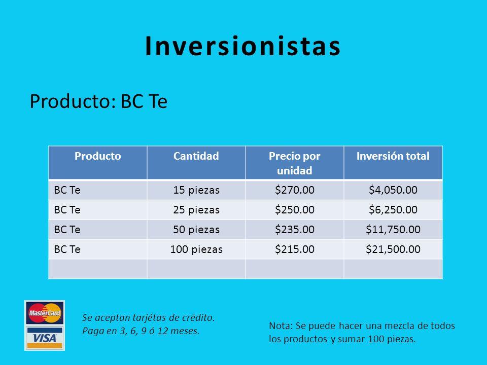 Inversionistas Producto: BC Te Producto Cantidad Precio por unidad