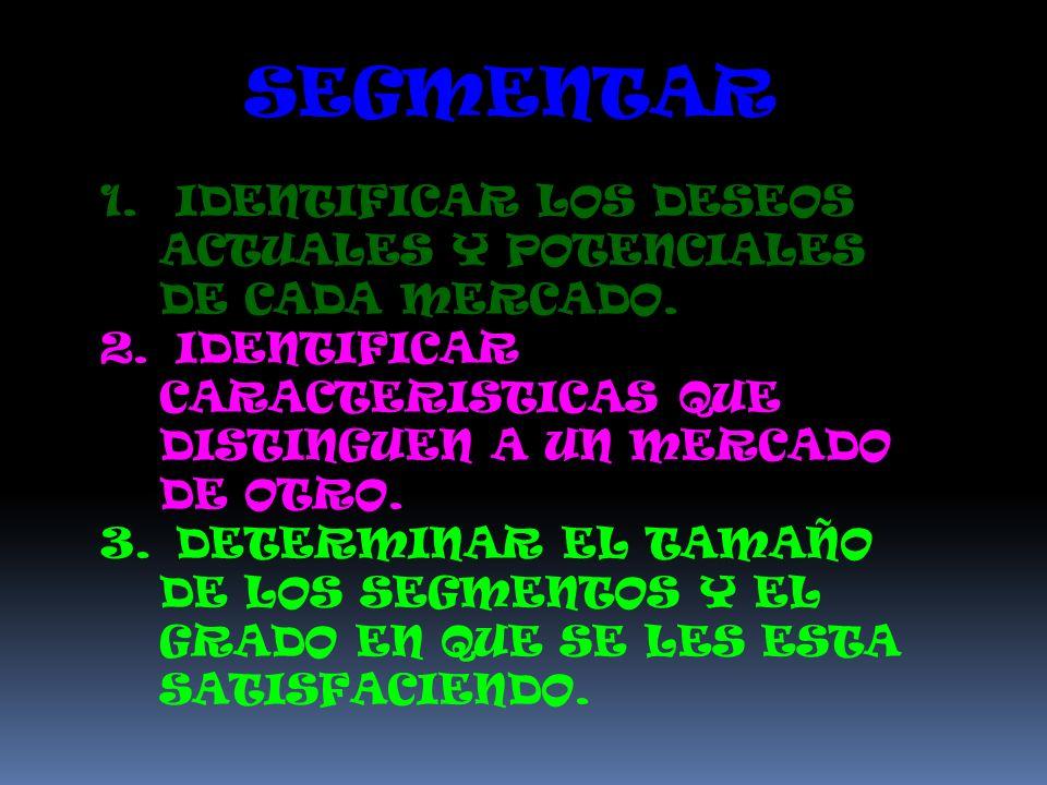 SEGMENTAR IDENTIFICAR LOS DESEOS ACTUALES Y POTENCIALES DE CADA MERCADO. IDENTIFICAR CARACTERISTICAS QUE DISTINGUEN A UN MERCADO DE OTRO.