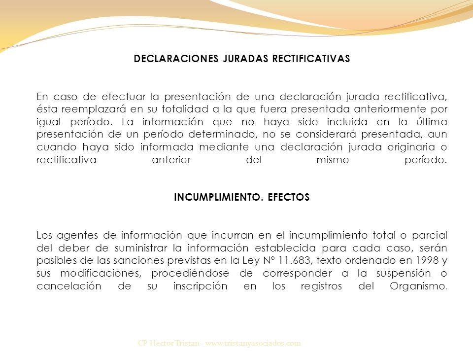 DECLARACIONES JURADAS RECTIFICATIVAS