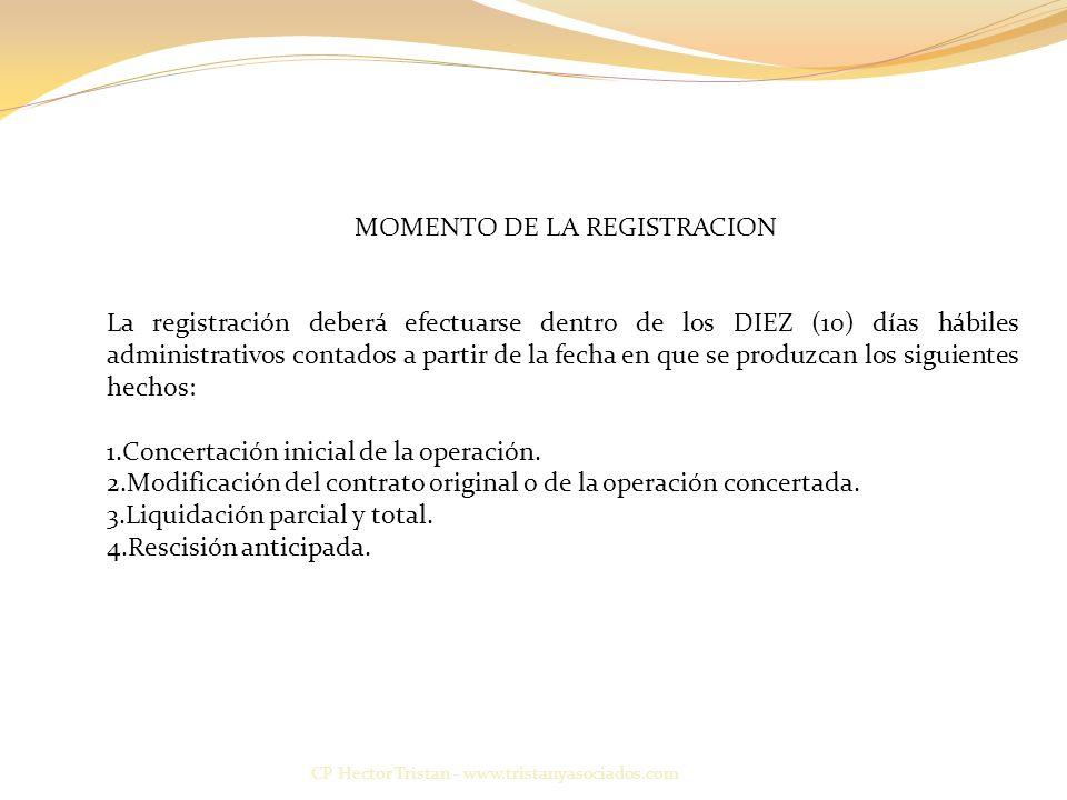 MOMENTO DE LA REGISTRACION