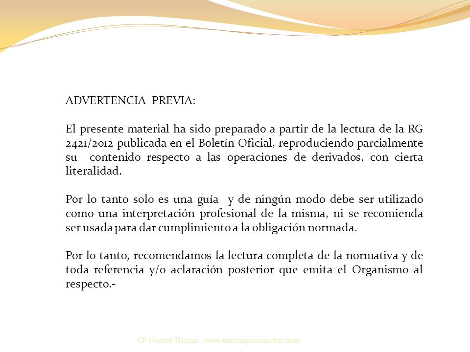 ADVERTENCIA PREVIA: