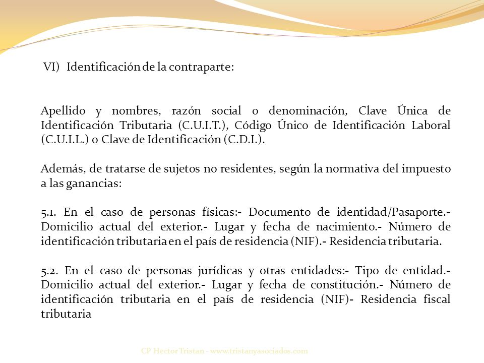 VI) Identificación de la contraparte: