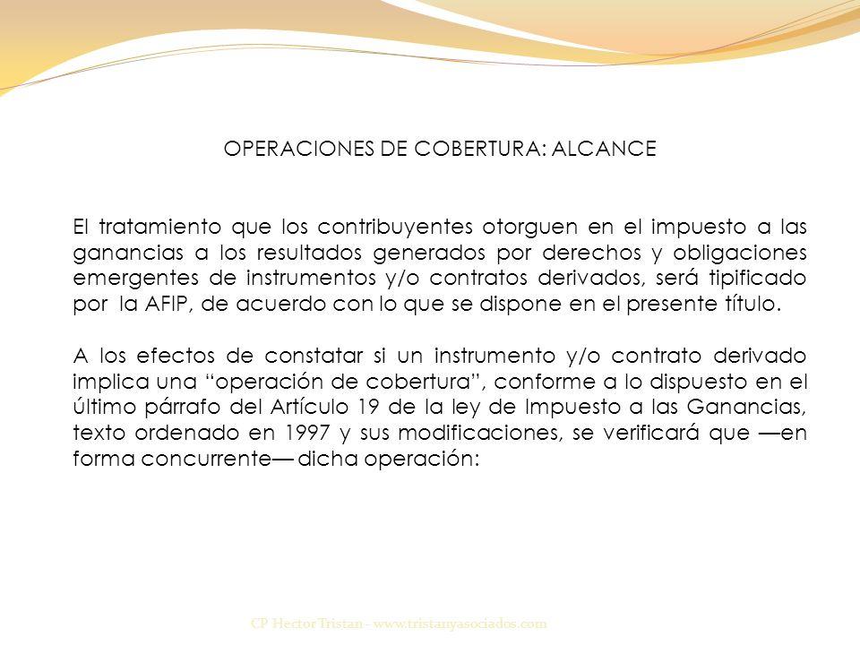 OPERACIONES DE COBERTURA: ALCANCE