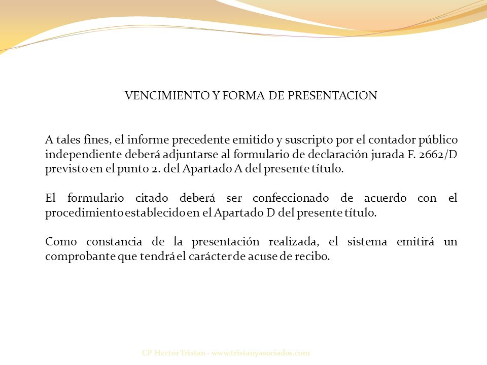 VENCIMIENTO Y FORMA DE PRESENTACION