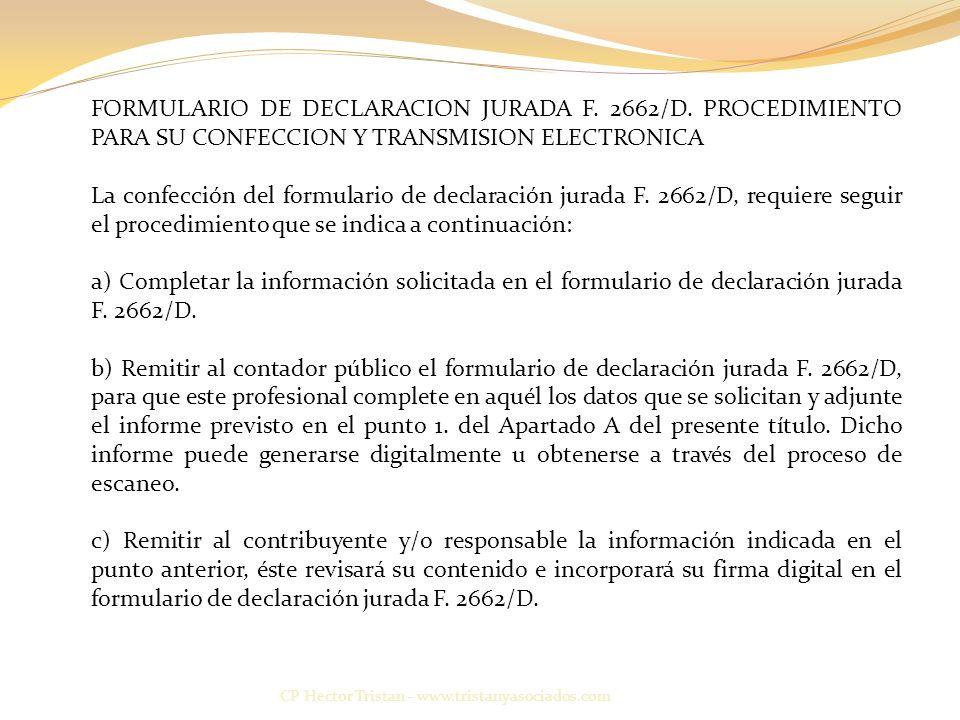 FORMULARIO DE DECLARACION JURADA F. 2662/D