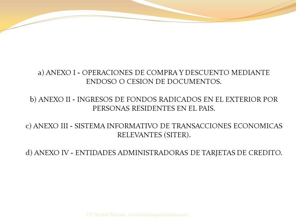 a) ANEXO I - OPERACIONES DE COMPRA Y DESCUENTO MEDIANTE ENDOSO O CESION DE DOCUMENTOS. b) ANEXO II - INGRESOS DE FONDOS RADICADOS EN EL EXTERIOR POR PERSONAS RESIDENTES EN EL PAIS. c) ANEXO III - SISTEMA INFORMATIVO DE TRANSACCIONES ECONOMICAS RELEVANTES (SITER). d) ANEXO IV - ENTIDADES ADMINISTRADORAS DE TARJETAS DE CREDITO.