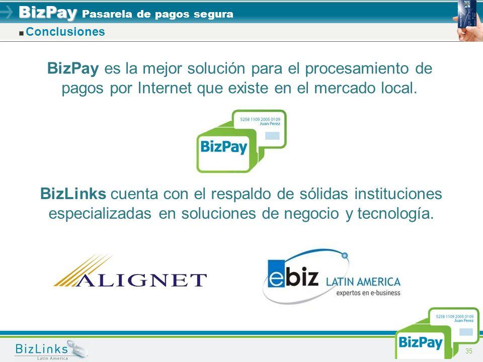 Conclusiones BizPay es la mejor solución para el procesamiento de pagos por Internet que existe en el mercado local.