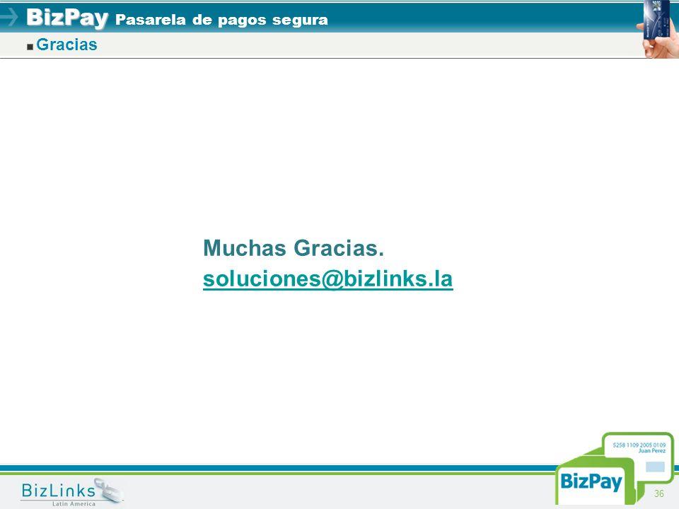 Gracias Muchas Gracias. soluciones@bizlinks.la