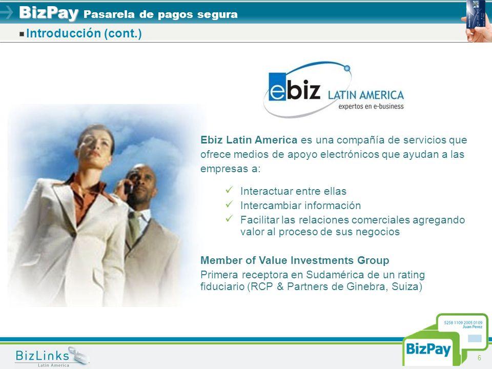 Introducción (cont.) Ebiz Latin America es una compañía de servicios que ofrece medios de apoyo electrónicos que ayudan a las empresas a: