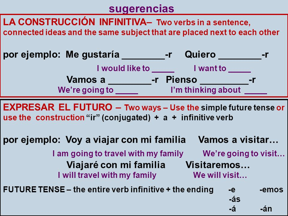 sugerencias LA CONSTRUCCIÓN INFINITIVA– Two verbs in a sentence, connected ideas and the same subject that are placed next to each other.