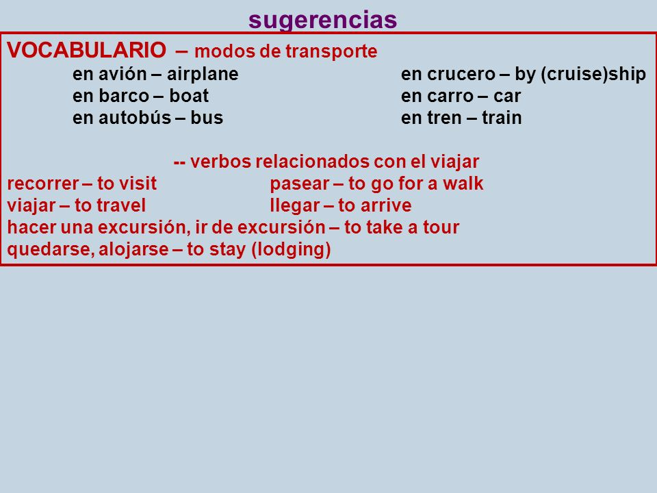 sugerencias VOCABULARIO – modos de transporte