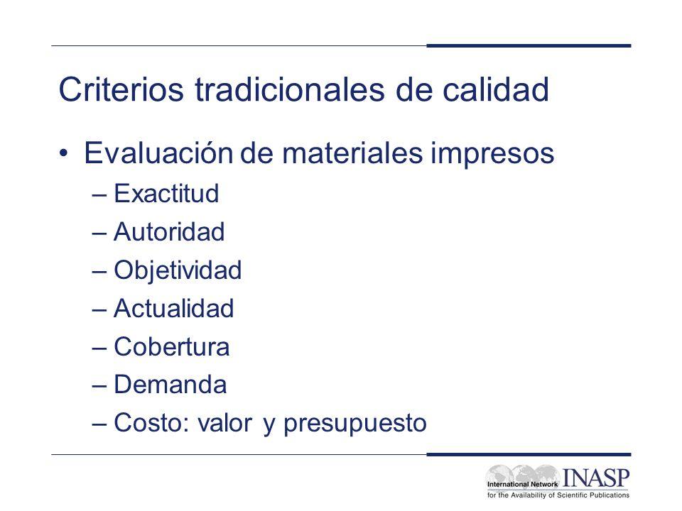 Criterios tradicionales de calidad