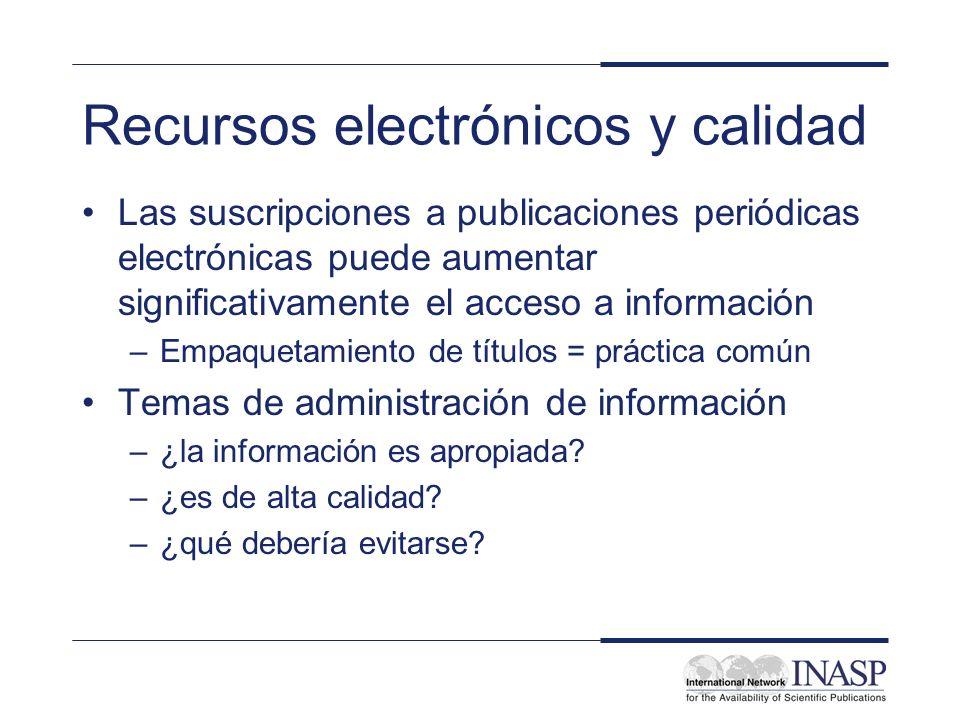 Recursos electrónicos y calidad