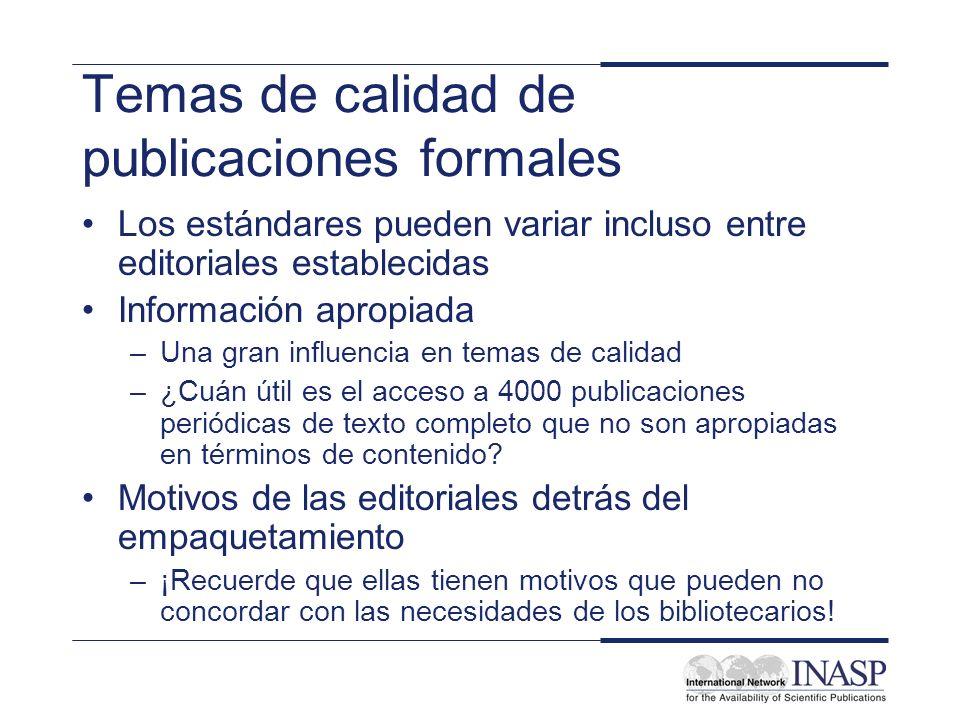 Temas de calidad de publicaciones formales