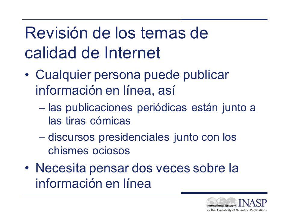 Revisión de los temas de calidad de Internet