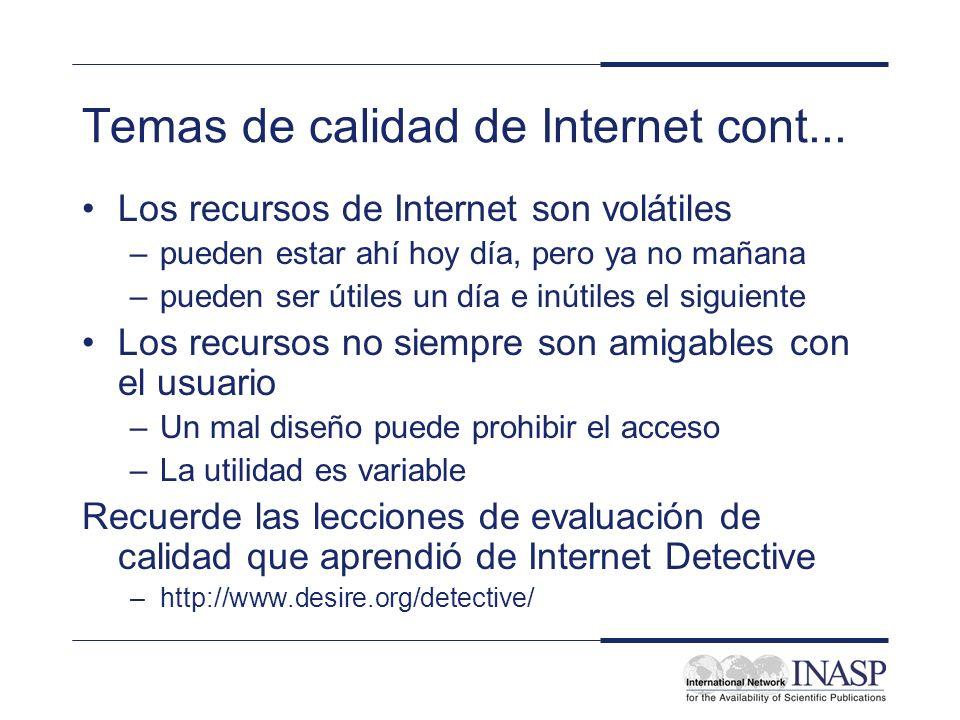 Temas de calidad de Internet cont...