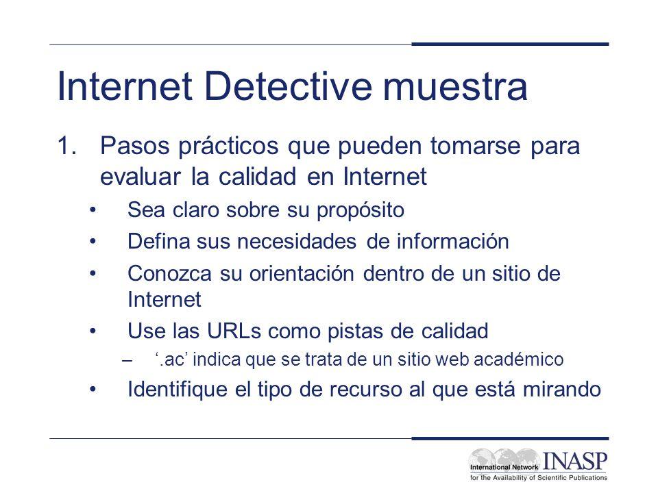 Internet Detective muestra