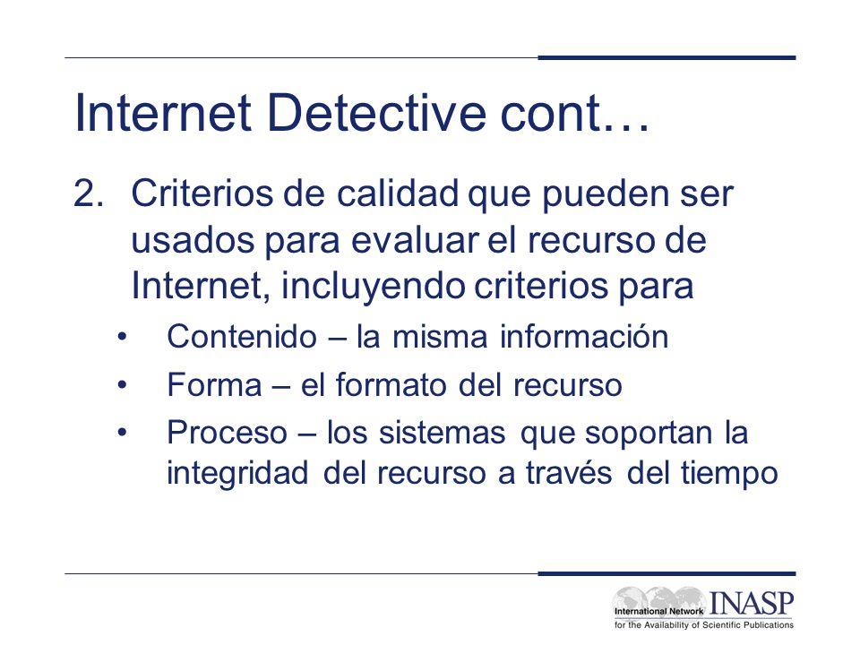 Internet Detective cont…
