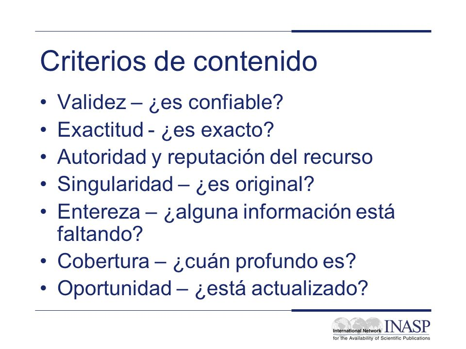 Criterios de contenido