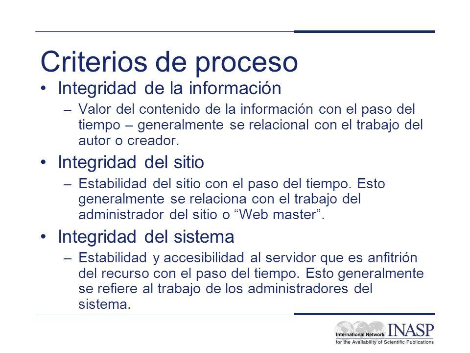 Criterios de proceso Integridad de la información Integridad del sitio