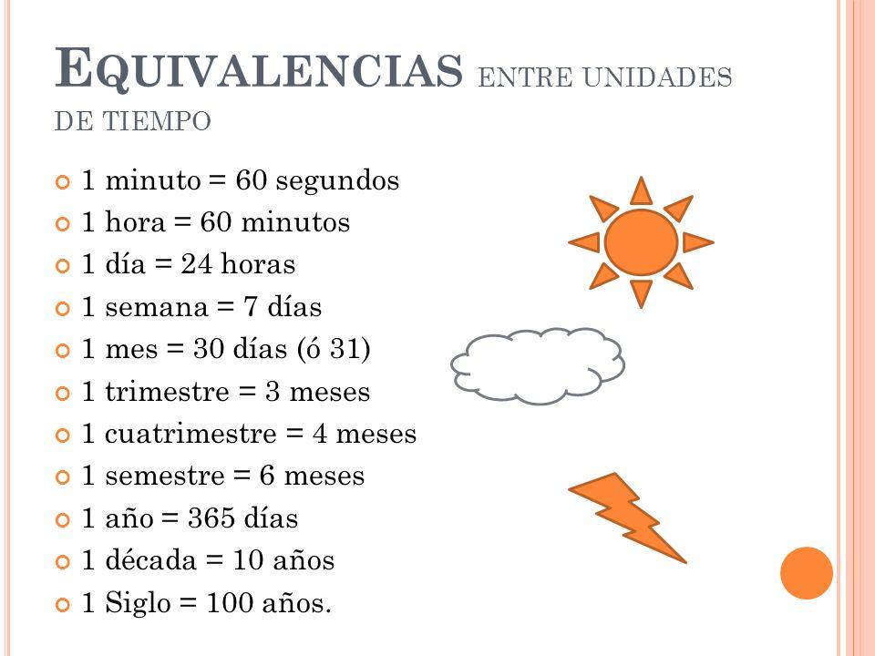 Equivalencias entre unidades de tiempo