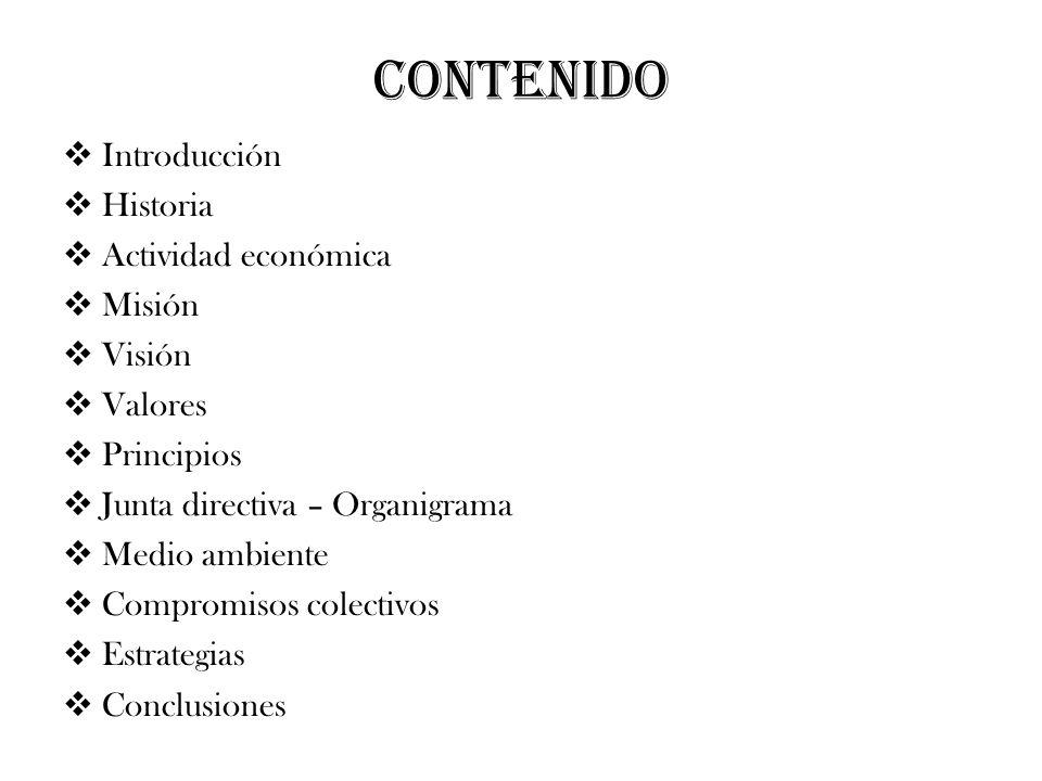 CONTENIDO Introducción Historia Actividad económica Misión Visión