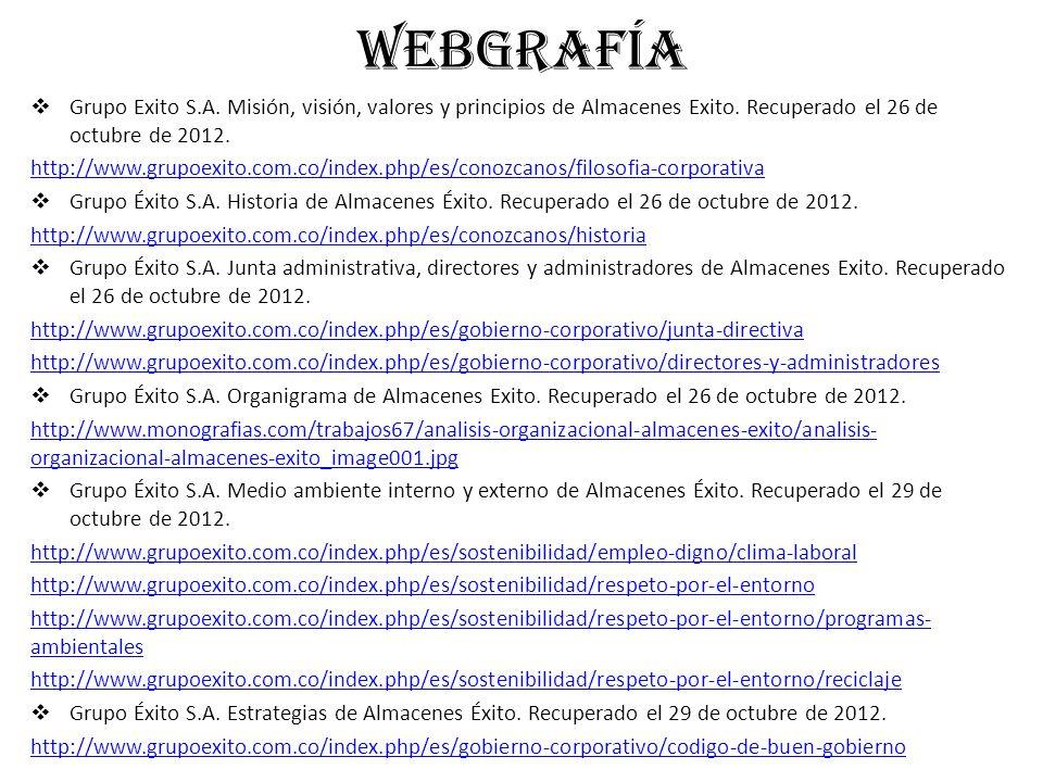 WEBGRAFÍA Grupo Exito S.A. Misión, visión, valores y principios de Almacenes Exito. Recuperado el 26 de octubre de 2012.