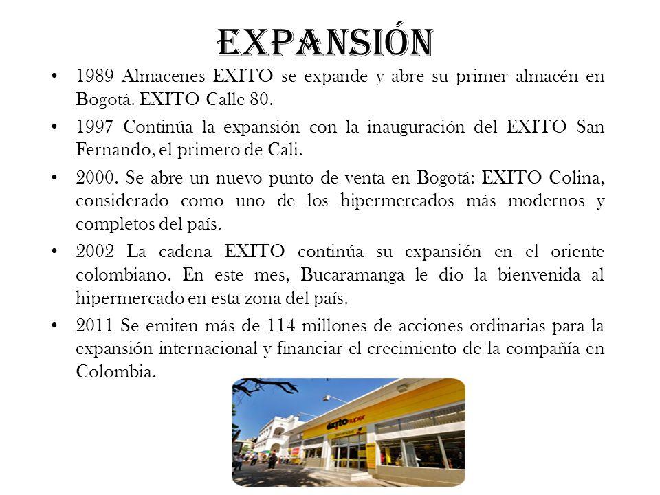 Expansión 1989 Almacenes EXITO se expande y abre su primer almacén en Bogotá. EXITO Calle 80.