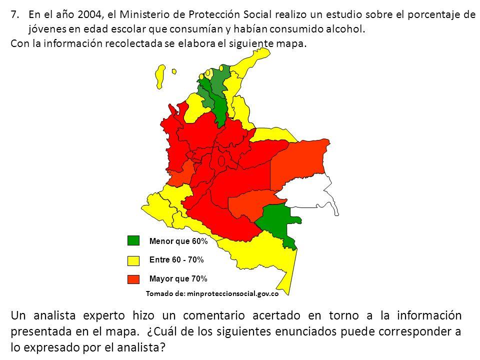 En el año 2004, el Ministerio de Protección Social realizo un estudio sobre el porcentaje de jóvenes en edad escolar que consumían y habían consumido alcohol.