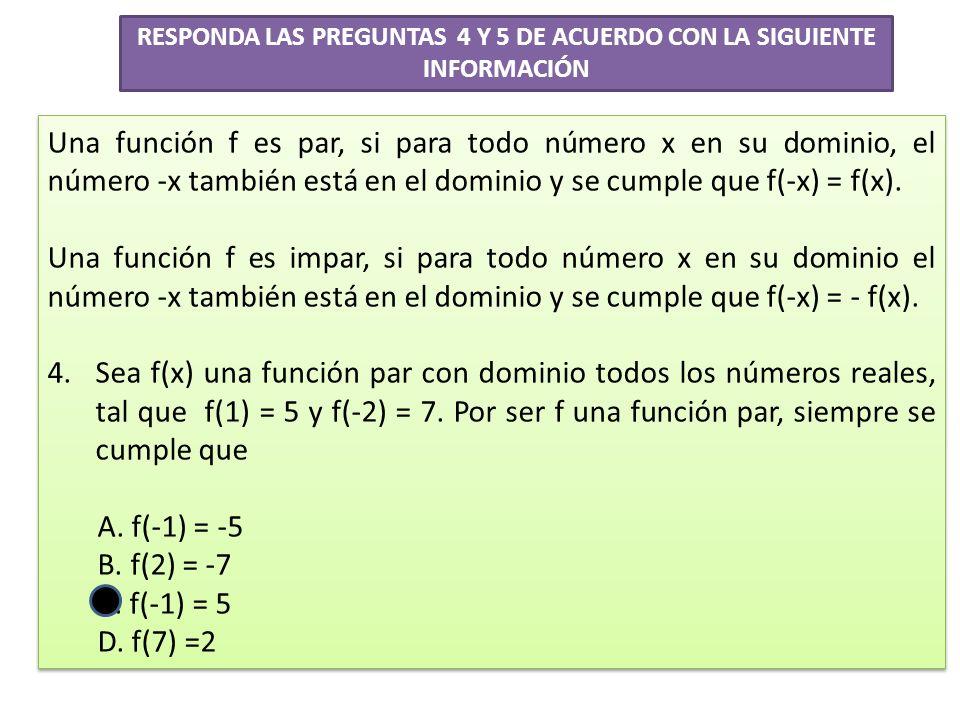 RESPONDA LAS PREGUNTAS 4 Y 5 DE ACUERDO CON LA SIGUIENTE INFORMACIÓN