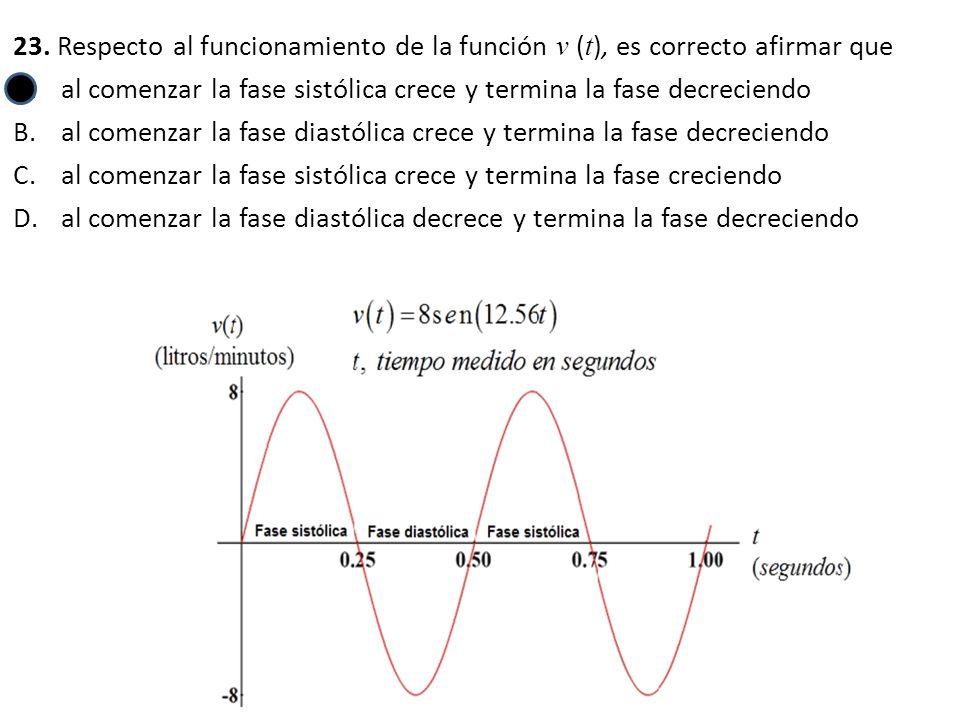 23. Respecto al funcionamiento de la función v (t), es correcto afirmar que