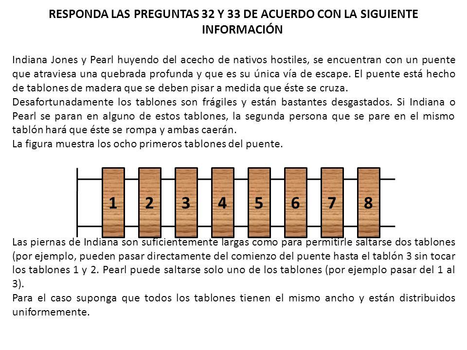 RESPONDA LAS PREGUNTAS 32 Y 33 DE ACUERDO CON LA SIGUIENTE INFORMACIÓN