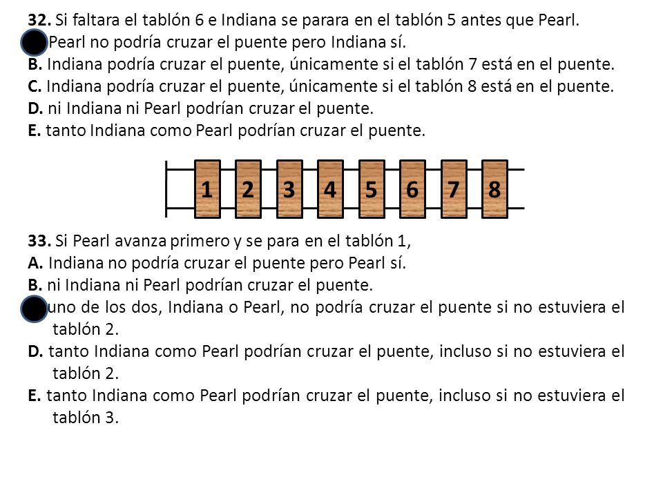 32. Si faltara el tablón 6 e Indiana se parara en el tablón 5 antes que Pearl.