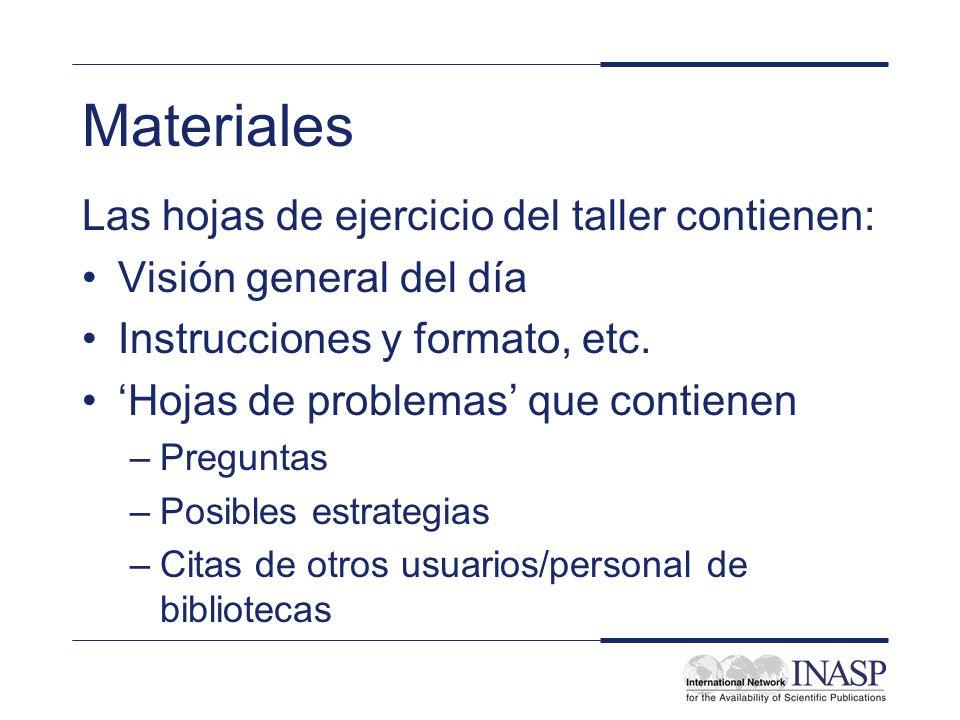 Materiales Las hojas de ejercicio del taller contienen: