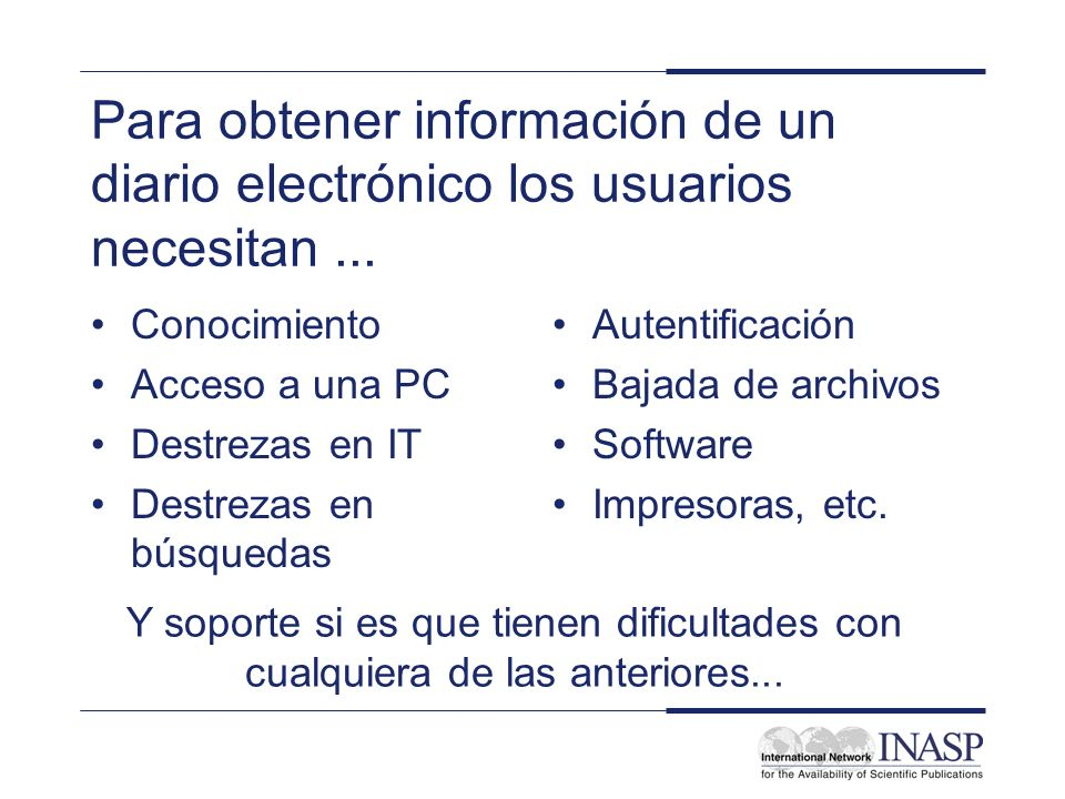 INASP Cascading Workshop: Electronic Journals and Electronic Resources Library Management: Managing Implementation and User Access