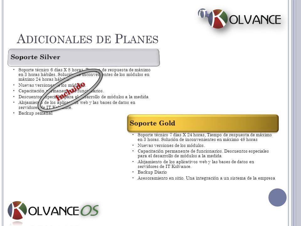 Adicionales de Planes Incluido Soporte Silver Soporte Gold
